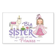 Unicorn Princess Big Sister Rectangle Bumper Stickers