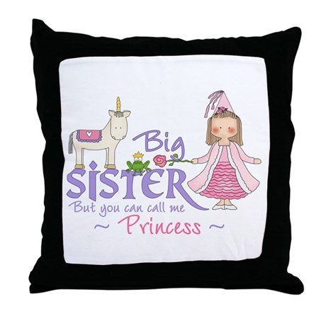Unicorn Princess Big Sister Throw Pillow