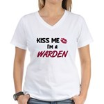 Kiss Me I'm a WARDEN Women's V-Neck T-Shirt