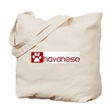 Havanese (dog paw red) Tote Bag