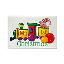Train 1st Christmas Rectangle Magnet