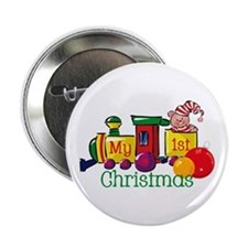 Train 1st Christmas Button