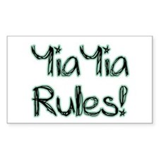 YiaYia Rules! Rectangle Decal