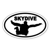 Skydiver Free Fall Oval Décalcomanies