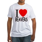I Love Beavers Fitted T-Shirt