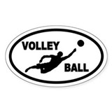 Beach Volleyball Player Oval Décalcomanies