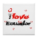 I Love Ecuador Tile Coaster