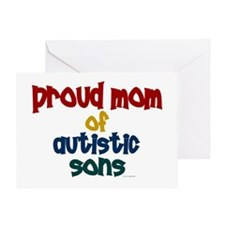Proud Mom Of Autistic Sons 2 Greeting Card