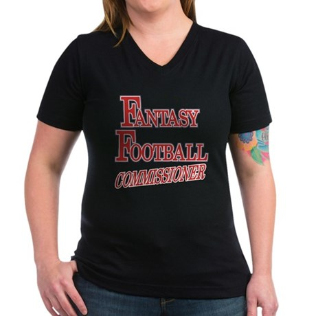 Fantasy Football Commissioner Women's V-Neck Dark