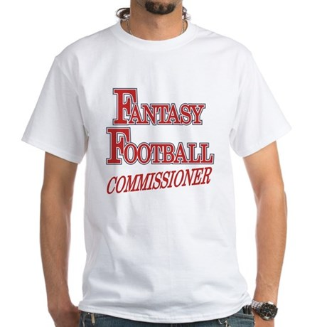 Fantasy Football Commissioner White T-Shirt