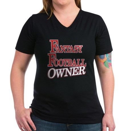 Fantasy Football Owner Women's V-Neck Dark T-Shirt