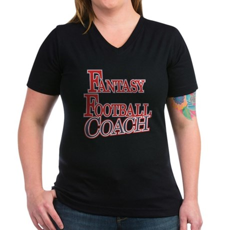 Fantasy Football Coach Women's V-Neck Dark T-Shirt