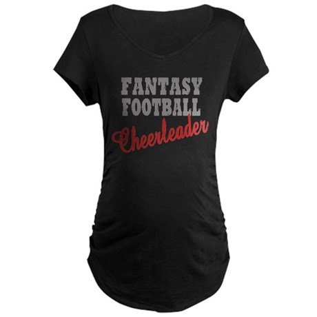 Fantasy Football Cheerleader Maternity Dark T-Shir
