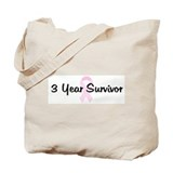 3 Year Survivor pink ribbon Tote Bag