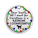 Dear Santa Redbone Coonhound Christmas Ornament