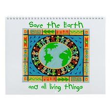 Green Save the Earth Wall Calendar