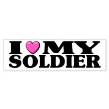 I Love (pink heart) My Soldier Bumper Bumper Sticker