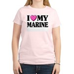 I Heart ( Love ) My Marine Women's Pink T-Shirt