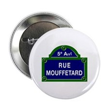 "Rue Mouffetard, Paris - France 2.25"" Button (100 p"