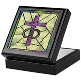 Stained Glass Cross Keepsake Box