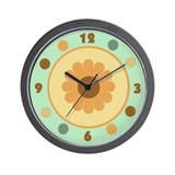 Orange Daisy Wall Clock