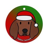 Cartoon Redbone Coonhound Christmas Ornament