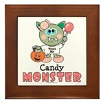 Halloween Candy Monster Framed Tile