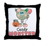 Halloween Candy Monster Throw Pillow