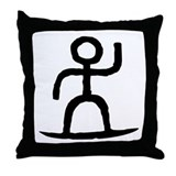 Surfer Pictograph Throw Pillow