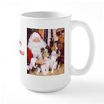Sheltie Christmas with Santa Large Mug