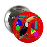 Red Abstract Toco Tucan by Wendy C. Allen Button