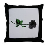 Gothique Black Rose Throw Pillow