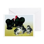 Black Cochin Family Greeting Cards (Pk of 20)