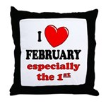 February 1st Throw Pillow