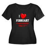 February 1st Women's Plus Size Scoop Neck Dark T-S
