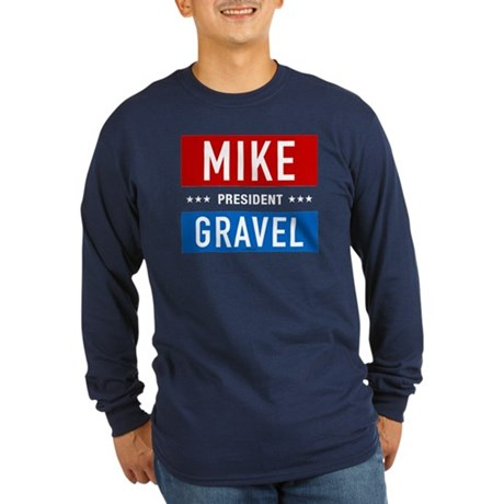 Gravel for President Long Sleeve Navy Tee