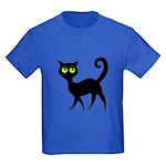Cat With Green Eyes Kids Dark T-Shirt