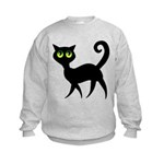 Cat With Green Eyes Kids Sweatshirt
