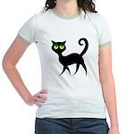 Cat With Green Eyes Jr. Ringer T-Shirt