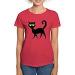 Cat With Green Eyes Women's Dark T-Shirt
