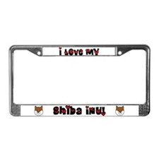 I Love My Shiba Inu License Plate Frame
