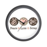 Peace Love Scrapbook Wall Clock