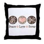 Peace Love Scrapbook Throw Pillow