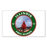 Illinois Free Mason Rectangle Sticker