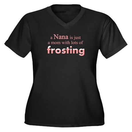 nana mom frosting Women's Plus Size V-Neck Dark T-