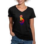 Kokopelli Snowboarder Women's V-Neck Dark T-Shirt