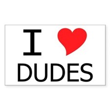 I Heart Dudes Rectangle Decal