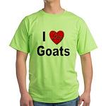 I Love Goats for Goat Lovers Green T-Shirt
