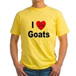 I Love Goats for Goat Lovers Yellow T-Shirt