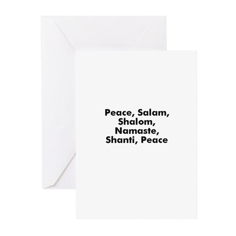 Peace, Salam, Shalom, Namaste Greeting Cards (Pk o